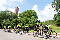 The MSU Police Department conducts a bicycle patrol exercise through campus on a sunny day. One of several police units at the university, the bicycle patrol officers must attend special certified training. A high priority for the department, new MSU officers receive a minimum of 160 hours of in-service departmental training. To learn more, visit www.police.msstate.edu.<br />  (photo by Beth Wynn / &copy; Mississippi State University)