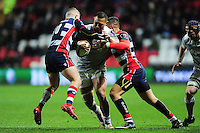Robbie Fruean of Bath Rugby takes on the Bristol Rugby defence. European Rugby Challenge Cup match, between Bristol Rugby and Bath Rugby on January 13, 2017 at Ashton Gate Stadium in Bristol, England. Photo by: Patrick Khachfe / Onside Images