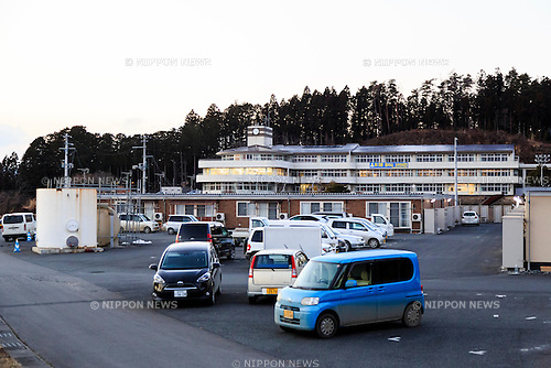 Temporary prefab housing in Minamisanriku on February 10, 2016, Miyagi Prefecture, Japan. <br /> A few weeks before of the fifth anniversary of 2011 Tohoku Earthquake and Tsunami, the Japanese government announced that the second half of the reconstruction work in the Tohoku area is expected to be concluded before the 2020 Tokyo Olympics begin. <br /> According to the official Reconstruction Agency's website approximately $250 billion were allocated to the first period (2011-2015) and $65 billion more have been set aside for a ''Reconstruction and Revitalisation Period'' starting from fiscal 2016. The Agency also reported that the number of evacuees has decreased from over 470,000 to about 180,000 in the 5 years since the disaster. According to the latest Japanese National Police Agency figures (published on February 10, 2016) 15,894 people died as a result of the earthquake and tsunami and 2,562 are still listed as missing; 6,152 people were injured, and 121,803 properties collapsed. <br /> Areas devastated by the earthquake and tsunami like Minamisanriku, Kesennuma, Onagawa, and Ishinomaki are in the process of recovery but reconstruction in parts of Fukushima will take much longer due to radiation contamination. (Photo by Rodrigo Reyes Marin/AFLO)