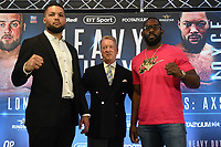 Joe Joyce (L), Frank Warren and Bryant Jennings during a Press Conference at Intercontinental Hotel O2 on 5th June 2019