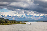 Float plane gets ready to take off from Wonder Lake, Denali National Park, Alaska