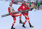 Pictured: Alex Harvey, Len Valjas. Team sprint of the FIS Cross Country Ski World Cup  in Dobbiaco, Toblach, on January 15, 2017. For ladies Russia wins ahead of Sweden and Norway. For men's Canada wins ahead of Sweden and Italy's with Dietmar Noeckler and Federico Pellegrino. Credit: Pierre Teyssot