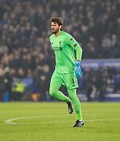 26th December 2019; King Power Stadium, Leicester, Midlands, England; English Premier League Football, Leicester City versus Liverpool; Liverpool Goalkeeper Alisson Becker keeping warm during the first half - Strictly Editorial Use Only. No use with unauthorized audio, video, data, fixture lists, club/league logos or 'live' services. Online in-match use limited to 120 images, no video emulation. No use in betting, games or single club/league/player publications