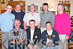 SCRATCH: Jim O'Sullivan, winner of the Intermediate Scratch Cup, and Mark Greer, winner of the Junior Scratch Cup, at Castlegregory Golf Club on Sunday, being presented with the Cups on Sunday night at Tomasins Bar & Restaurant, Stradbally, Castlegregory. Front l-r: Jim O'Sullivan, George Nash (Captain) and Mark Greer. Back l-r: Mike Keane, Joe McKenna (President), Matt Moloney (Sponsor), Frank Herlihy and Mike Williams (Vice Captain)..