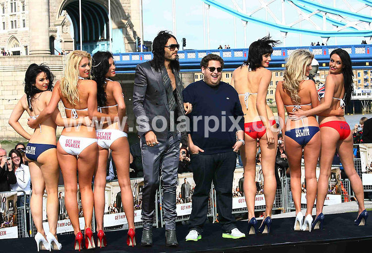 **ALL ROUND PICTURES FROM SOLARPIX.COM**.**WORLDWIDE SYNDICATION RIGHTS**.Russell Brand and Jonah Hill at the Photocall for - Get Him To The Greek - Held at The Potters Fields Park, London, UK. 20 June 2010..This pic: Russell Brand and Jonah Hill..JOB REF: 11510 LNJ     DATE: 20_06_2010.**MUST CREDIT SOLARPIX.COM OR DOUBLE FEE WILL BE CHARGED**.**MUST NOTIFY SOLARPIX OF ONLINE USAGE**.**CALL US ON: +34 952 811 768 or LOW RATE FROM UK 0844 617 7637**