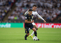 Radamel Falcao Garcia of Monaco turns Dele Alli of Tottenham Hotspur during the UEFA Champions League Group stage match between Tottenham Hotspur and Monaco at White Hart Lane, London, England on 14 September 2016. Photo by Andy Rowland.