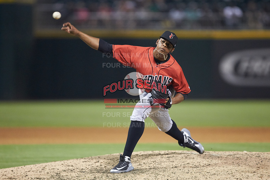 Indianapolis Indians relief pitcher Jesus Liranzo (48) delivers a pitch to the plate against the Charlotte Knights at BB&T BallPark on May 26, 2018 in Charlotte, North Carolina. The Indians defeated the Knights 6-2.  (Brian Westerholt/Four Seam Images)