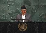72 General Debate &ndash; 23rd of September  2017<br /> <br /> H.E. Sher Bahadur DEUBA<br /> <br /> Prime Minister of the<br /> FEDERAL DEMOCRATIC REPUBLIC OF<br /> NEPAL
