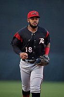 Richmond Flying Squirrels center fielder Heliot Ramos (18) during an Eastern League game against the Bowie Baysox on August 15, 2019 at Prince George's Stadium in Bowie, Maryland.  Bowie defeated Richmond 4-3.  (Mike Janes/Four Seam Images)