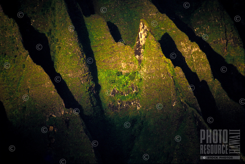 Aerial of Kalalau trail on the Na pali coast
