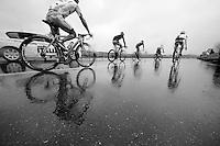 breakaway group racing in the rain<br /> <br /> 2014 Milano - San Remo