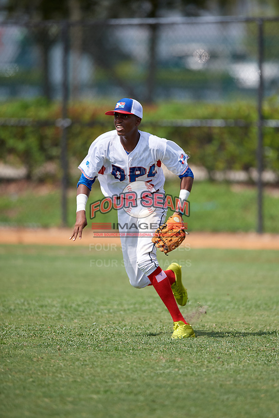 Salvador Ramirez (5) during the Dominican Prospect League Elite Florida Event at Pompano Beach Baseball Park on October 15, 2019 in Pompano beach, Florida.  (Mike Janes/Four Seam Images)