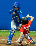 NAUGATUCK , CT-073120JS12—Peter J. Foley Cardinals' Sam Mooney (7) is tagged out at home plate by Union City Blue Jays' Tyler Accetura (9) during their Little League game at Peter J. Foley field in Naugatuck on Friday. <br /> Jim Shannon Republican-American