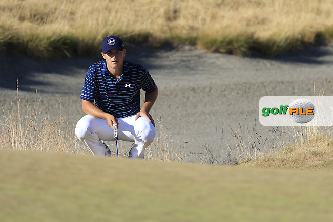 Jordan Speith (USA) lines up his putt at the 15th green during Sunday's Final Round of the 2015 U.S. Open 115th National Championship held at Chambers Bay, Seattle, Washington, USA. 6/22/2015.<br /> Picture: Golffile | Eoin Clarke<br /> <br /> <br /> <br /> <br /> All photo usage must carry mandatory copyright credit (&copy; Golffile | Eoin Clarke)