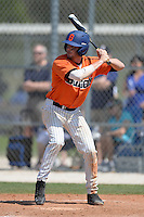 Gettysburg Bullets outfielder Ryan Smith (8) at bat during the second game of a doubleheader against the Edgewood Eagles at the Lee County Player Development Complex on March 10, 2014 in Fort Myers, Florida.  Edgewood defeated Gettysburg 5-1.  (Mike Janes/Four Seam Images)