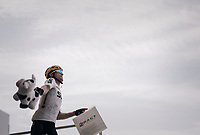 The day before Michal Kwiatkowski (POL/SKY) threw his Oakley glaces away during the race and today he is about to throw his 'cow' into the audience at the stage start...<br /> <br /> 104th Tour de France 2017<br /> Stage 19 - Embrun &rsaquo; Salon-de-Provence (220km)