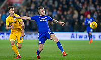 Joe Ralls of Cardiff City gets away from Josh Harrop of Preston North End during the Sky Bet Championship match between Cardiff City and Preston North End at the Cardiff City Stadium, Cardiff, Wales on 29 December 2017. Photo by Mark  Hawkins / PRiME Media Images.