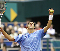 23-2-06, Netherlands, tennis, Rotterdam, ABNAMROWTT,  Novak Djokovic with a dosis emotion in his match against Tim Henman