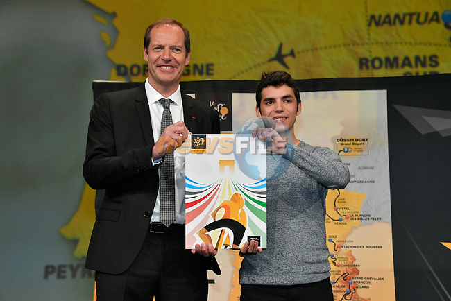Tour de France 2017 - 18/10/2016 - Palais des congres - Paris - France - Presentation du parcours - Christian PRUDHOMME; Directeur du Cyclisme d'A.S.O. et Alexis BOULIVET; Createur de l'affiche officielle du Tour de France 2017