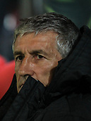 13th April 2018, Estadi Montilivi, Girona, Spain; La Liga football, Girona versus Real Betis; Quique Setien coach of Betis on the bench before the match