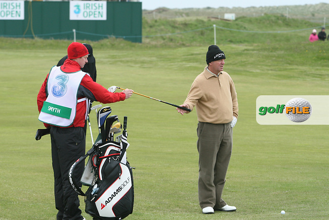 Des Smyth with his son Greg as caddy during the Pro-Am at the Irish Open in Co.Louth Golf Club,  Baltray...Photo NEWSFILE/Jenny Matthews.(Photo credit should read Jenny Matthews/NEWSFILE)....This Picture has been sent you under the condtions enclosed by:.Newsfile Ltd..The Studio,.Millmount Abbey,.Drogheda,.Co Meath..Ireland..Tel: +353(0)41-9871240.Fax: +353(0)41-9871260.GSM: +353(0)86-2500958.email: pictures@newsfile.ie.www.newsfile.ie.FTP: 193.120.102.198.