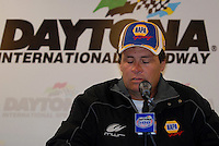 Feb 15, 2007; Daytona, FL, USA; Nascar Nextel Cup Series driver Michael Waltrip talks to the media the day after fines and penalties were handed out by Nascar at Daytona International Speedway. Mandatory Credit: Mark J. Rebilas