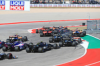 3rd November 2019; Circuit of the Americas, Austin, Texas, United States of America; Formula 1 United Sates Grand Prix, race day; Aston Martin Red Bull Racing, Alexander Albon gets air on the exit of turn 1