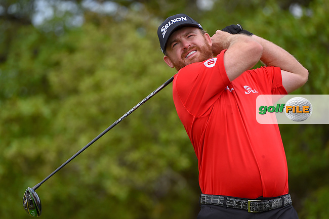 J.B. Holmes (USA) watches his tee shot on 2 during day 1 of the Valero Texas Open, at the TPC San Antonio Oaks Course, San Antonio, Texas, USA. 4/4/2019.<br /> Picture: Golffile | Ken Murray<br /> <br /> <br /> All photo usage must carry mandatory copyright credit (© Golffile | Ken Murray)