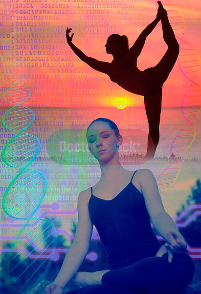 metaphoric composite photo illustration with icons of health including female figures in yoga poses, exercising