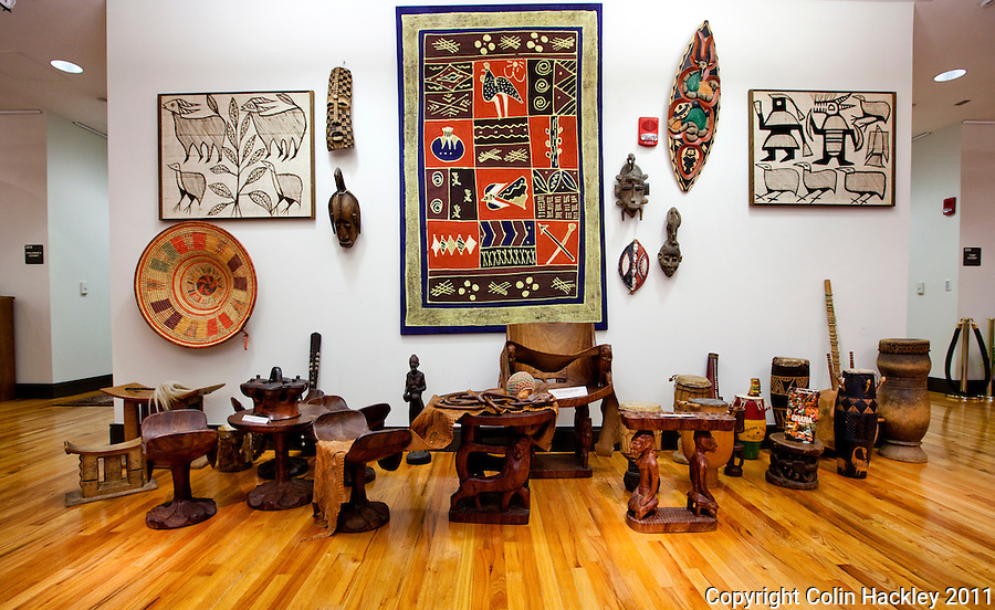 AFRICAN ART: Various forms of art from Africa are displayed at The Black Archives in Tallahassee..COLIN HACKLEY PHOTO