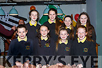 Gaelscoil Aogain pupils who entertained the crowd at the Castleisland/Bannalec twinning 10th anniversary celebrations in Brownes bar on Sunday night front l-r: Muireann Nicola Bhrid, Saoirse Ní Connaith, Sadie Ní Bhrosnachain, Hanna Ní Iarliathe. Back row: Chantelle Ní Bhruadair, Katie Ní Choitir, Chloe Ní Bharóid and Caroline Blúinlín