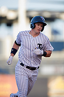 Tampa Yankees shortstop Kyle Holder (12) rounding the bases after hitting a home run in the bottom of the third inning during a game against the Palm Beach Cardinals on July 25, 2017 at George M. Steinbrenner Field in Tampa, Florida.  Tampa defeated Palm beach 7-6.  (Mike Janes/Four Seam Images)