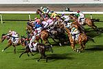 Jockeys riding their horses during the race 2 of Hong Kong Racing at Happy Valley Racecourse on September 13, 2017 in Hong Kong, China. Photo by Marcio Rodrigo Machado / Power Sport Images