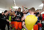 Ethan Ebanks-Landell of Sheffield Utd celebrates promotion during the English League One match at Sixfields Stadium Stadium, Northampton. Picture date: April 8th 2017. Pic credit should read: Simon Bellis/Sportimage
