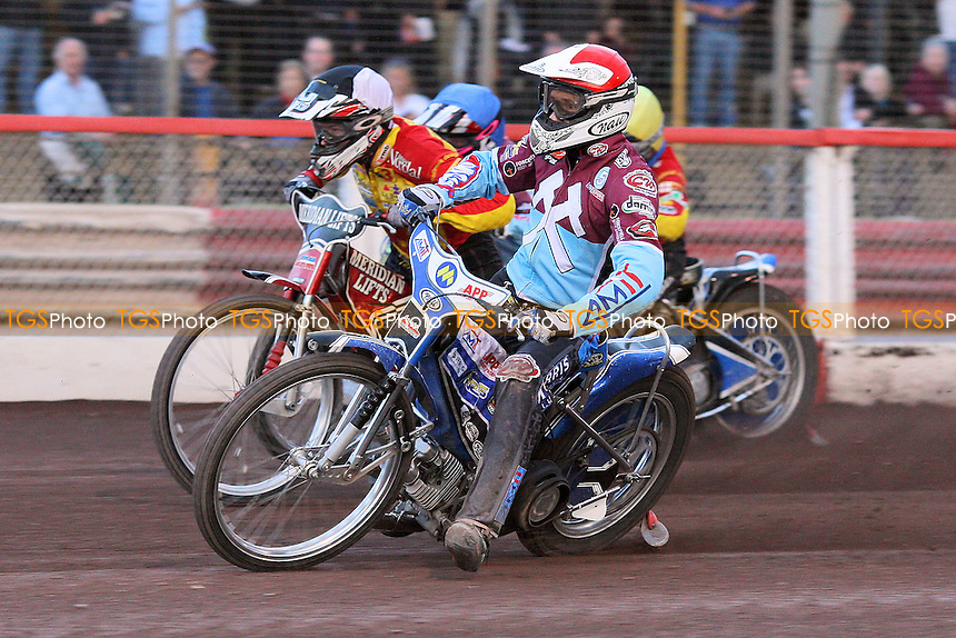Heat 7: Piotr Swiderski (red), Ulrich Ostergaard (tactical), Danny King (yellow) and Rob Mear - Lakeside Hammers vs Birmingham Brummies - Elite League Knockout Cup at Arena Essex Raceway - 10/06/11 - MANDATORY CREDIT: Gavin Ellis/TGSPHOTO - Self billing applies where appropriate - Tel: 0845 094 6026
