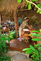 Woman recieving Hawaiian Lomi Lomi massage at the Mauna Lani spa on the Big Island of Hawaii