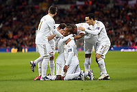 Pictured: Nathan Dyer of Swansea (on the ground C) is celebrating his goal mobbed by team mates. Sunday 24 February 2013<br />