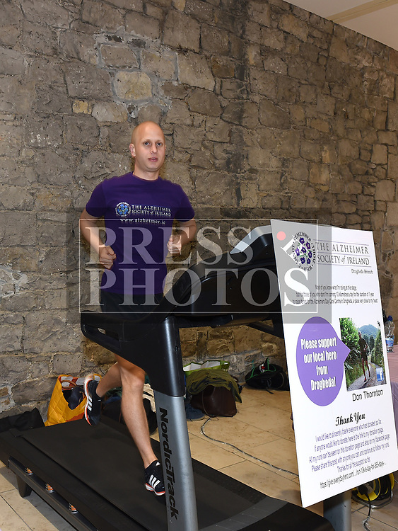 Don Thornton on the threadmill in Scotch Hall running as part of his 10K a Day in aid of Alzheimer's Society. Photo:Colin Bell/pressphotos.ie