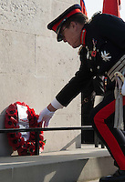 Pictured: An ex serviceman lays a wreath after the service Friday 11 November 2016<br /> Re: Remembrance Day service at the Cenotaph in Swansea, south Wales, UK.