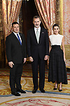 King Felipe VI of Spain (C) and Queen Letizia of Spain (R) receive Prime Minister of Estonia Juri Ratas (L) because of the United Nations conference for the Climate Summit 2019 (COP25) at the Royal Palace. December 2,2019. (ALTERPHOTOS/Pool/Carlos Alvarez)