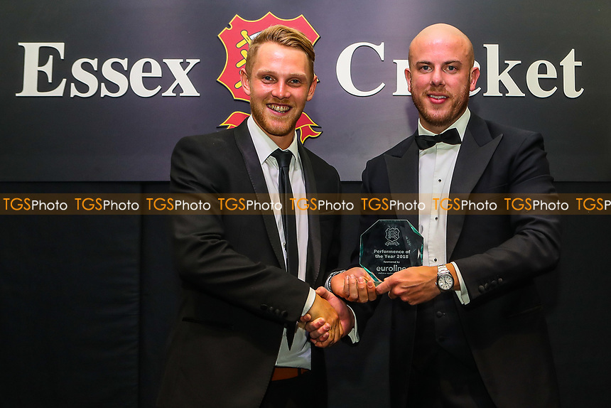 Jamie Porter of Essex receives the Performance Of The Year Award during the Essex CCC Awards at The Cloudfm County Ground on 3rd October 2018