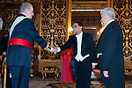 Presentation of credentials from Ambassadors to The King of Spain Juan Carlos I in the credentials room of the Royal Palace. In the picture Mr. Francisco Javier Ramirez Acu, Ambassador from United States of Mexico introducing his diplomatic to to The King of Spain Juan Carlos I .June 21,2012. (ALTERPHOTOS/Ricky)