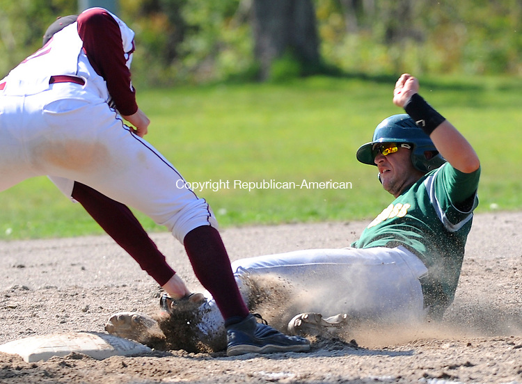 WATERBURY,  CT, 04 MAY 2012-050412JS09- Holy Cross' Brendan Bessette (9) is tagged out at third by Torrington's Patrick Baker (12) during their game Friday at Waterville Park in Waterbury..Jim Shannon Republican-American