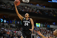 Dallas, TX - Friday March 31, 2017: Erica Mccall prior to the NCAA National Semifinal Game between the women's basketball teams of Stanford and South Carolina at the American Airlines Center.