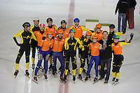 SHORTTRACK: AMSTERDAM: Jaap Edenhal, 04-01-2015, KPN NK Shorttrack, prominenten relay, Skate4Air, Jochem Uytdehaage, ©foto Martin de Jong