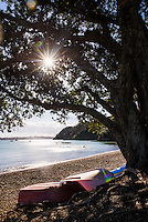 Boats on Russell Beach, Bay of Islands, Northland Region, North Island, New Zealand