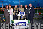 .CAHMPION: Patrick O'Conner(ballyduff) with his winning dog No 2 Hawtorn Vieri who won the Kerry Group Hospital Sweepstake Final at the Fundraiseing night for the Kerry General Hospital sponsored by Kerry Group at the Kingdom Greyhound Stadium, Tralee on Friday night. l-r: Maria Rohan (Kerry Group), Mary Keane (Kerry General), Patrick O'Connor, Denis Buckley (Chairman Kerry Group), Mr Tom McCormack (Kerry general) and Frank hayes (Kerry Group) ....   Copyright Kerry's Eye 2008
