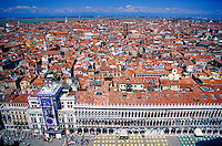 An overview of the city of Venice, skyline, cityscape, architecture, aerial. Venice, Italy.