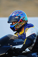 Jul. 16, 2010; Sonoma, CA, USA; NHRA pro stock motorcycle rider Freddie Camarena during qualifying for the Fram Autolite Nationals at Infineon Raceway. Mandatory Credit: Mark J. Rebilas-