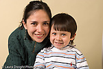 portrait headshot of preschool boy age 3 with his mother horizontal